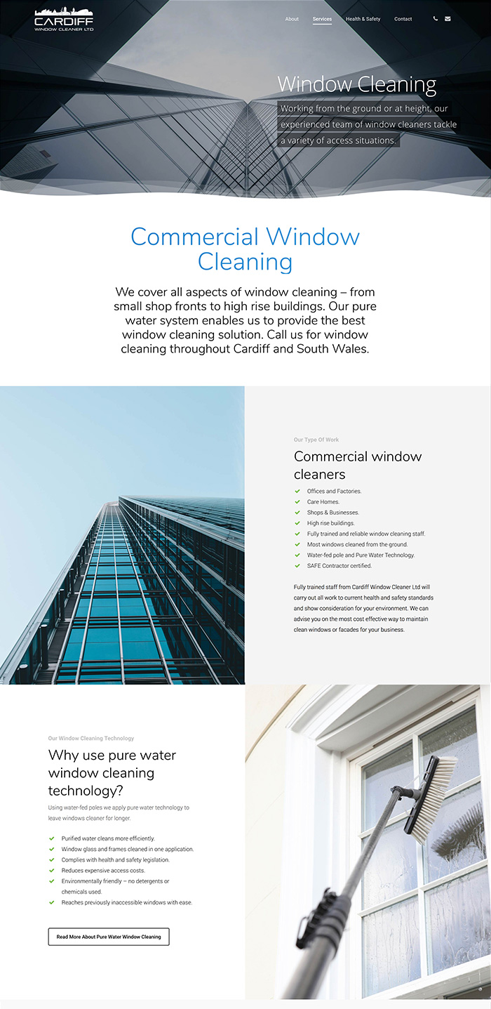 Cardiff window cleaning Web design