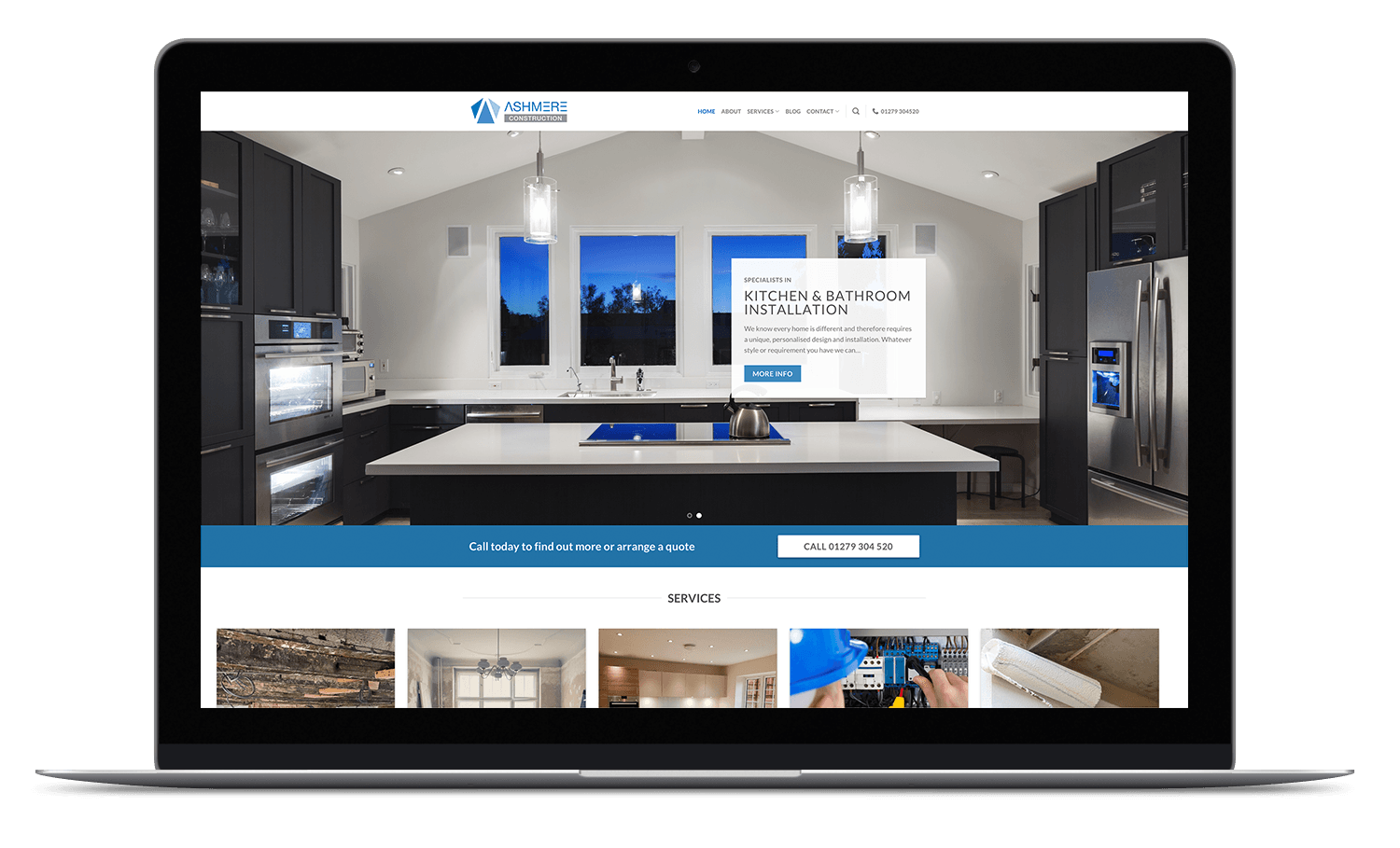 Ashmere construction responsive website