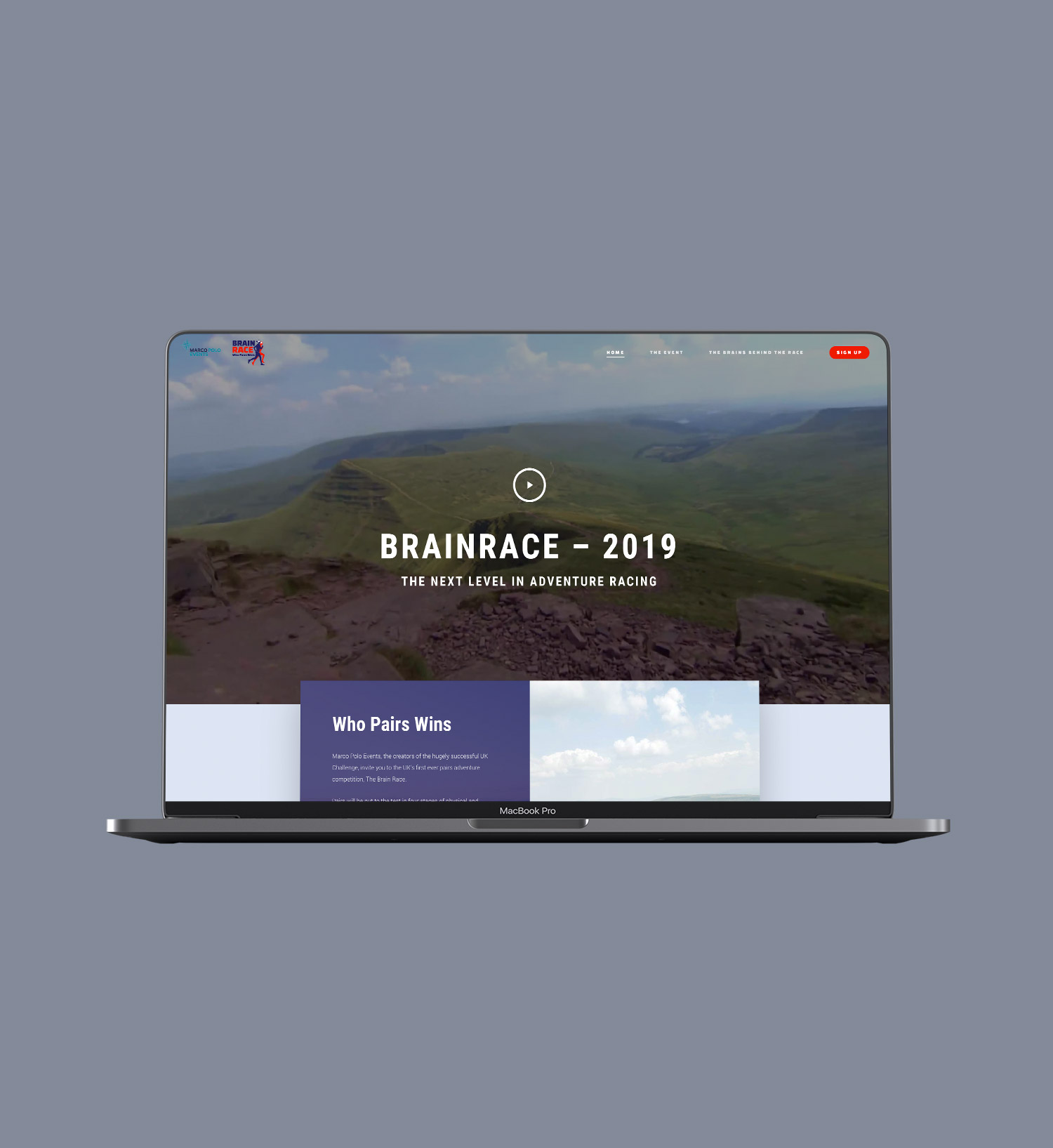 brainrace new website homepage