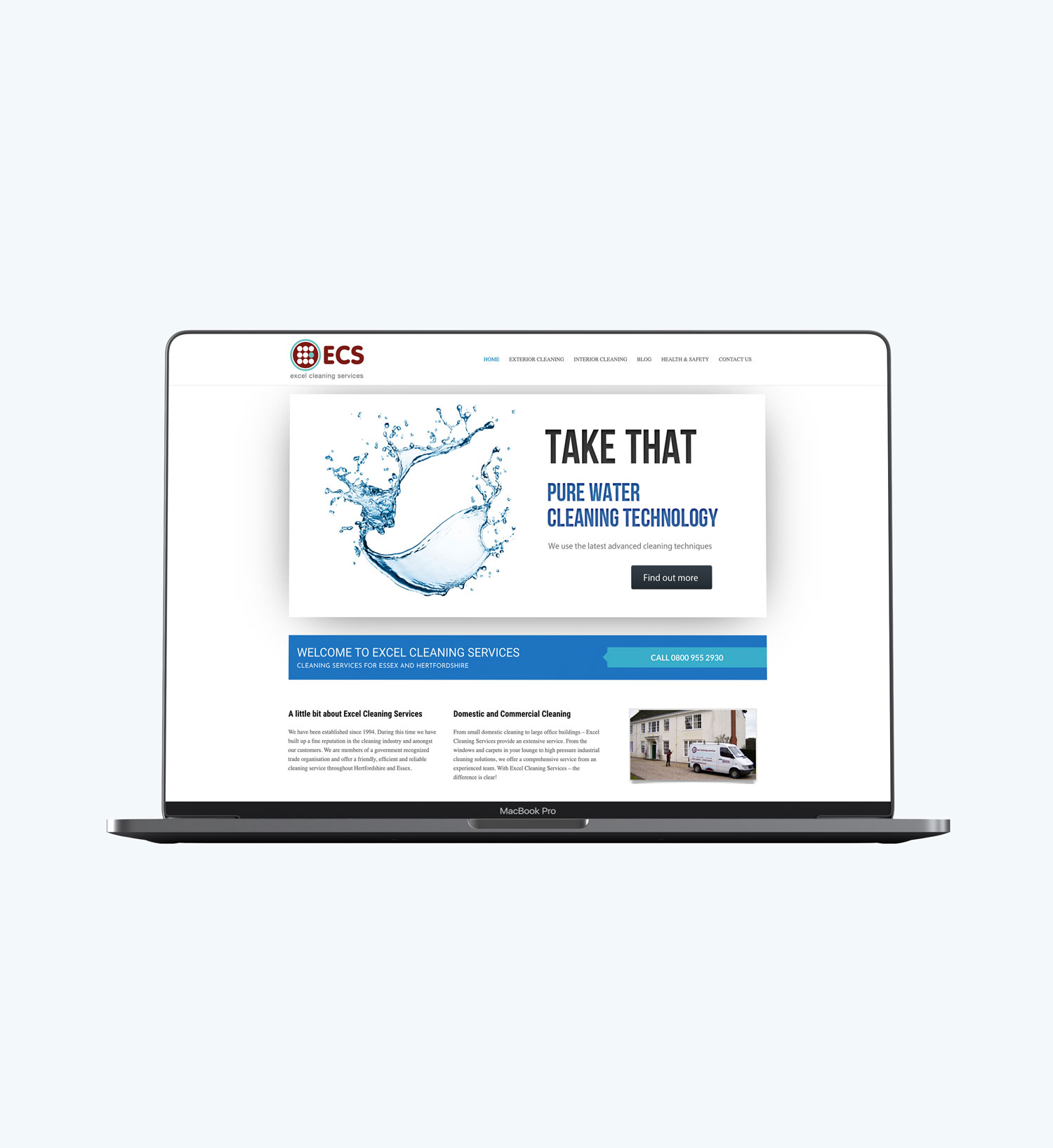 Excel Cleaning Services window cleaning responsive website